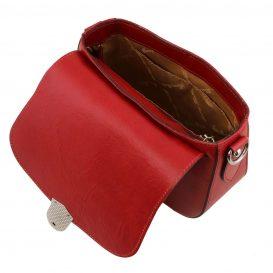 イタリア製カーフレザーのショルダーバッグ 、サドルバッグ、レッド、赤、詳細4