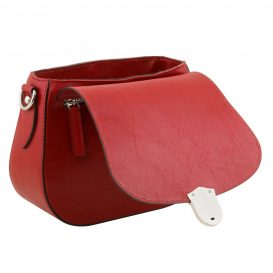 イタリア製カーフレザーのショルダーバッグ 、サドルバッグ、レッド、赤、詳細5