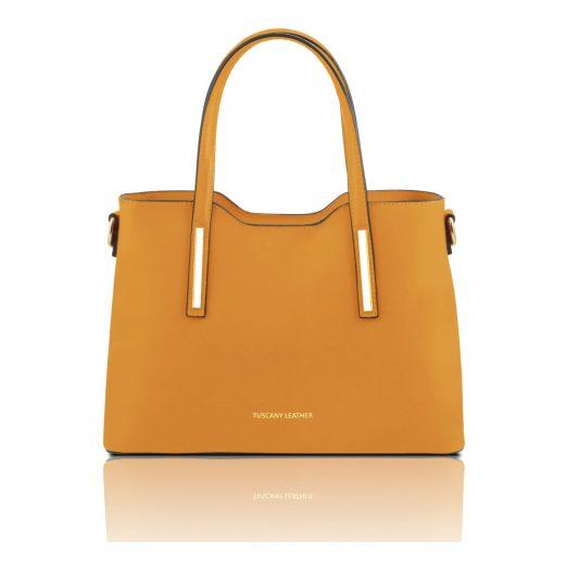 OLIMPIA イタリア製ルーガ・カーフレザーの2WAYショッピングバッグ(小)イエロー・黄色