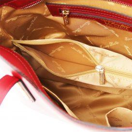 イタリア製OLIMPIA ルーガ・カーフレザーの2WAYトートバッグ(小)レッド、赤、詳細2