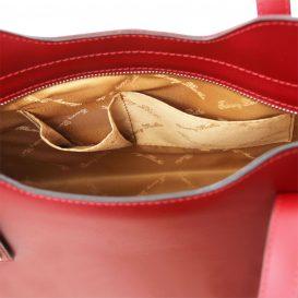 イタリア製OLIMPIA ルーガ・カーフレザーの2WAYトートバッグ(小)レッド、赤、詳細3
