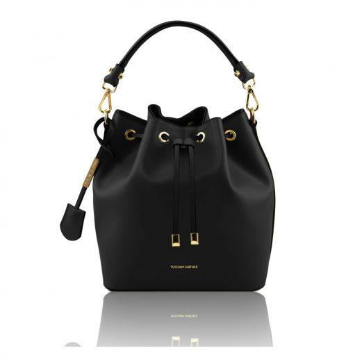 イタリア製 ルーガ・カーフレザーの2WAY巾着バッグ、ショルダーバッグ、黒、バッグ