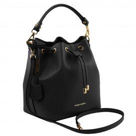 イタリア製 ルーガ・カーフレザーの2WAY巾着バッグ、ショルダーバッグ、黒、バッグ、詳細1