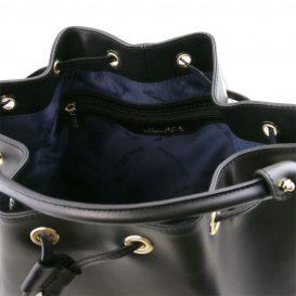 イタリア製 ルーガ・カーフレザーの2WAY巾着バッグ、ショルダーバッグ、黒、バッグ、詳細2