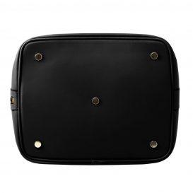 イタリア製 ルーガ・カーフレザーの2WAY巾着バッグ、ショルダーバッグ、黒、バッグ、詳細3