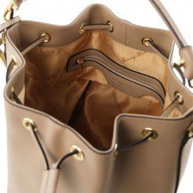 イタリア製 ルーガ・カーフレザーの2WAY巾着バッグ、ショルダーバッグ、ダークトープ、詳細2