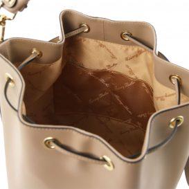 イタリア製 ルーガ・カーフレザーの2WAY巾着バッグ、ショルダーバッグ、ダークトープ、詳細3