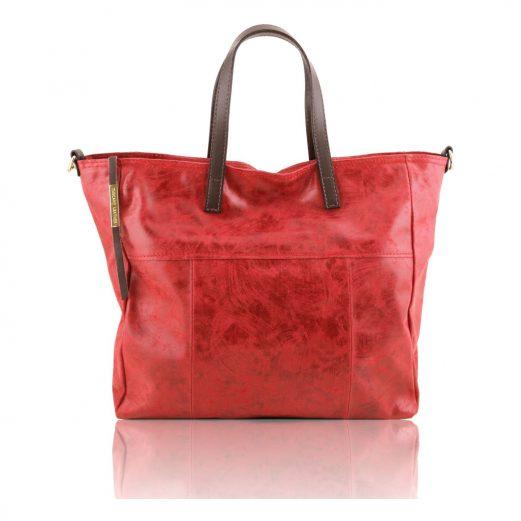 ANNIE ヴィンテージ加工カーフレザーの2WAYトートバッグ TL Bag (モジュール対応)レッド・赤