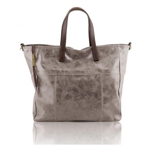 イタリア製ANNIE ヴィンテージ加工カーフレザーの2WAYトートバッグ TL Bag (モジュール対応)グレイ、灰色
