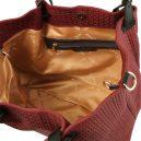 イタリア製イントレチャート編み込み風スウェードのトートバッグ、ショルダーバッグ、ボルドー、ワインレッド、バーガンディ、詳細2