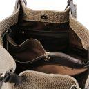 イタリア製イントレチャート編み込み風スウェードのトートバッグ、ショルダーバッグ、ダークトープ、トープ、ベージュ、ベージュグレイ、グレージュ、詳細5