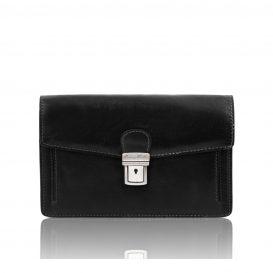 イタリア製ベジタブルタンニンレザーのセカンドバッグ TOMMY、ブラック