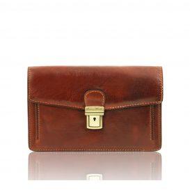 イタリア製ベジタブルタンニンレザーのセカンドバッグ TOMMY、ブラウン