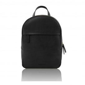 イタリア製カーフレザーのリュック TL BAG、シンプル本革リュック、黒、ブラック