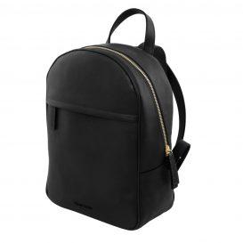 イタリア製カーフレザーのリュック TL BAG、シンプル本革リュック、黒、ブラック、詳細1
