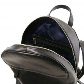 イタリア製カーフレザーのリュック TL BAG、シンプル本革リュック、黒、ブラック、詳細3