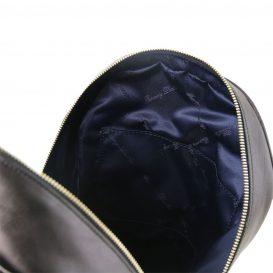 イタリア製カーフレザーのリュック TL BAG、シンプル本革リュック、黒、ブラック、詳細4