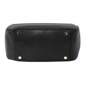 イタリア製カーフレザーのリュック TL BAG、シンプル本革リュック、黒、ブラック、詳細5