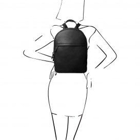 イタリア製カーフレザーのリュック TL BAG、シンプル本革リュック、黒、ブラック、詳細6