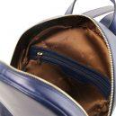 イタリア製カーフレザーのリュック TL BAG、シンプル本革リュック、ダークブルー、ネイビー、青、詳細3