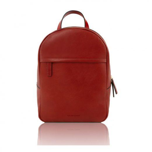 イタリア製カーフレザーのリュック TL BAG、シンプル本革リュック、レッド、赤