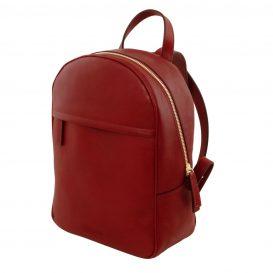 イタリア製カーフレザーのリュック TL BAG、シンプル本革リュック、レッド、赤、詳細1