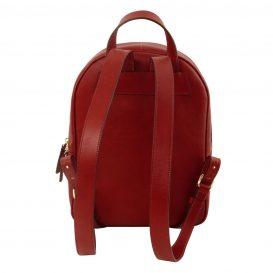 イタリア製カーフレザーのリュック TL BAG、シンプル本革リュック、レッド、赤、詳細2