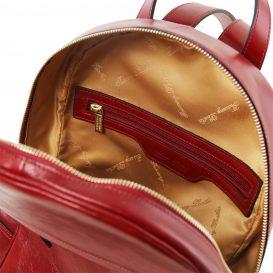 イタリア製カーフレザーのリュック TL BAG、シンプル本革リュック、レッド、赤、詳細3