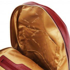 イタリア製カーフレザーのリュック TL BAG、シンプル本革リュック、レッド、赤、詳細4