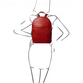 イタリア製カーフレザーのリュック TL BAG、シンプル本革リュック、レッド、赤、詳細6