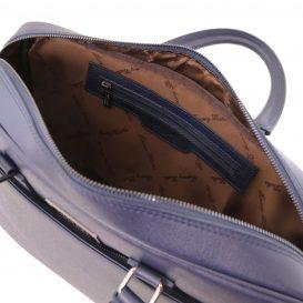 イタリア製サフィアーノレザーのPC搬送ビジネスバッグ URBINO 、ダークブルー、詳細2