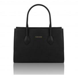 イタリア製・柔らかいソヴァージュレザーのショルダーバッグTL Bag・ブラック・黒