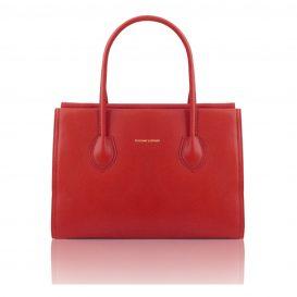 イタリア製・柔らかいソヴァージュレザーのショルダーバッグTL Bag・レッド・赤