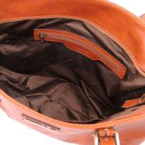 イタリア製ベジタブルタンニンレザーのトートバッグ ANNALISA、ハニー、詳細3