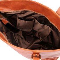 イタリア製ベジタブルタンニンレザーのトートバッグ ANNALISA、ハニー、詳細4