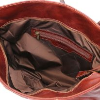 イタリア製ベジタブルタンニンレザーのトートバッグ ANNALISA、ブラウン、詳細3