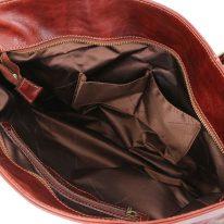 イタリア製ベジタブルタンニンレザーのトートバッグ ANNALISA、ブラウン、詳細4