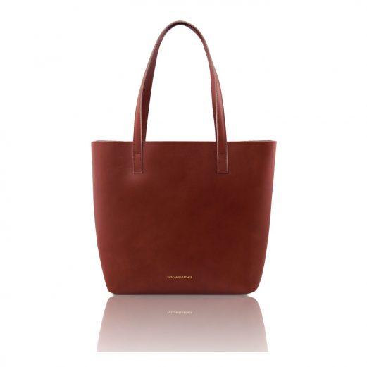 イタリア製ILARIA 取り外し可コンパートメント付き2WAYトートバッグ、ブラウン、茶色