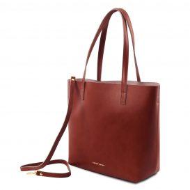イタリア製ILARIA 取り外し可コンパートメント付き2WAYトートバッグ、ブラウン、茶色、詳細