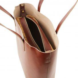 イタリア製ILARIA 取り外し可コンパートメント付き2WAYトートバッグ、ブラウン、茶色、詳細2
