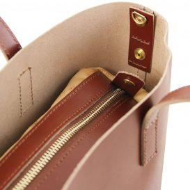 イタリア製ILARIA 取り外し可コンパートメント付き2WAYトートバッグ、ブラウン、茶色、詳細3