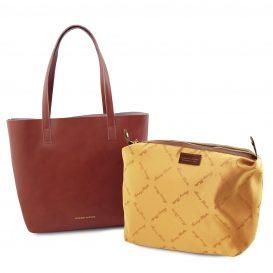 イタリア製ILARIA 取り外し可コンパートメント付き2WAYトートバッグ、ブラウン、茶色、詳細5