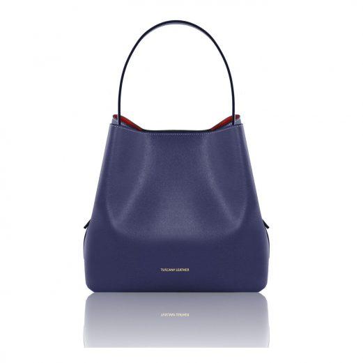イタリア製ARIANNA サフィアーノレザーのポーチ付きハンドバッグ、ダークブルー、ブルー、青