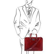 イタリア製ベジタブルタンニンレザーのビジネスバッグ ALBA、詳細5