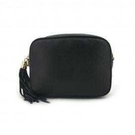 Black Soft Leather Handbag With Tassel