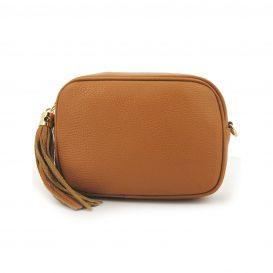 Cognac Soft Leather Handbag With Tassel