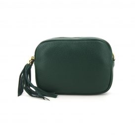 Green Soft Leather Handbag With Tassel
