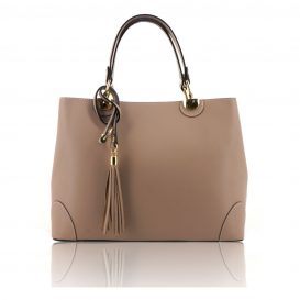 Beige Ruga Leather Double Handle Handbag With Strap