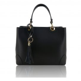 Black Ruga Leather Double Handle Handbag With Strap
