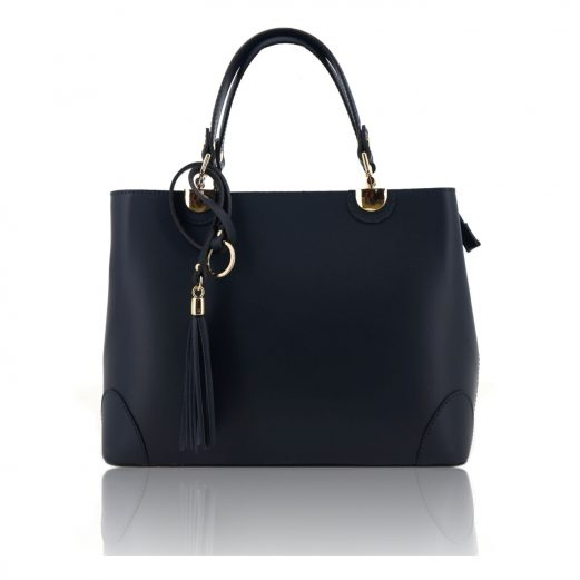 Dark Blue Ruga Leather Double Handle Handbag With Strap